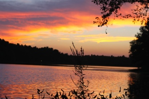Views of the sunset on the pond, 2 minutes from our door. Unbelievable!