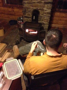 First fire in the new (to us) wood stove.